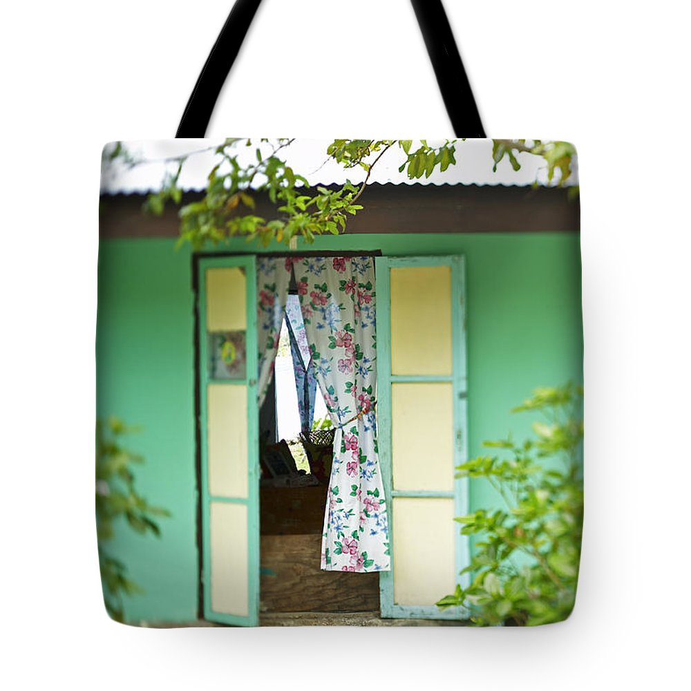 Architecture Tote Bag featuring the photograph Maupiti Doorway by Kyle Rothenborg - Printscapes