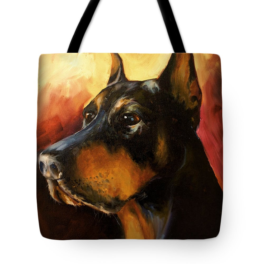 Doberman Dog Tote Bag featuring the painting MAX by Michael Lang