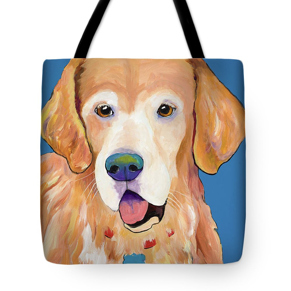 Pat Saunders-white Tote Bag featuring the painting Maxwell by Pat Saunders-White