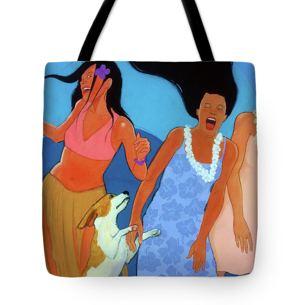 Hawiian Tote Bag featuring the painting May I Cut In by Naro Naro