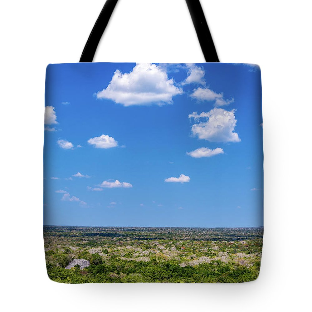 Calakmul Tote Bag featuring the photograph Mayan Temple And Landscape by Jess Kraft