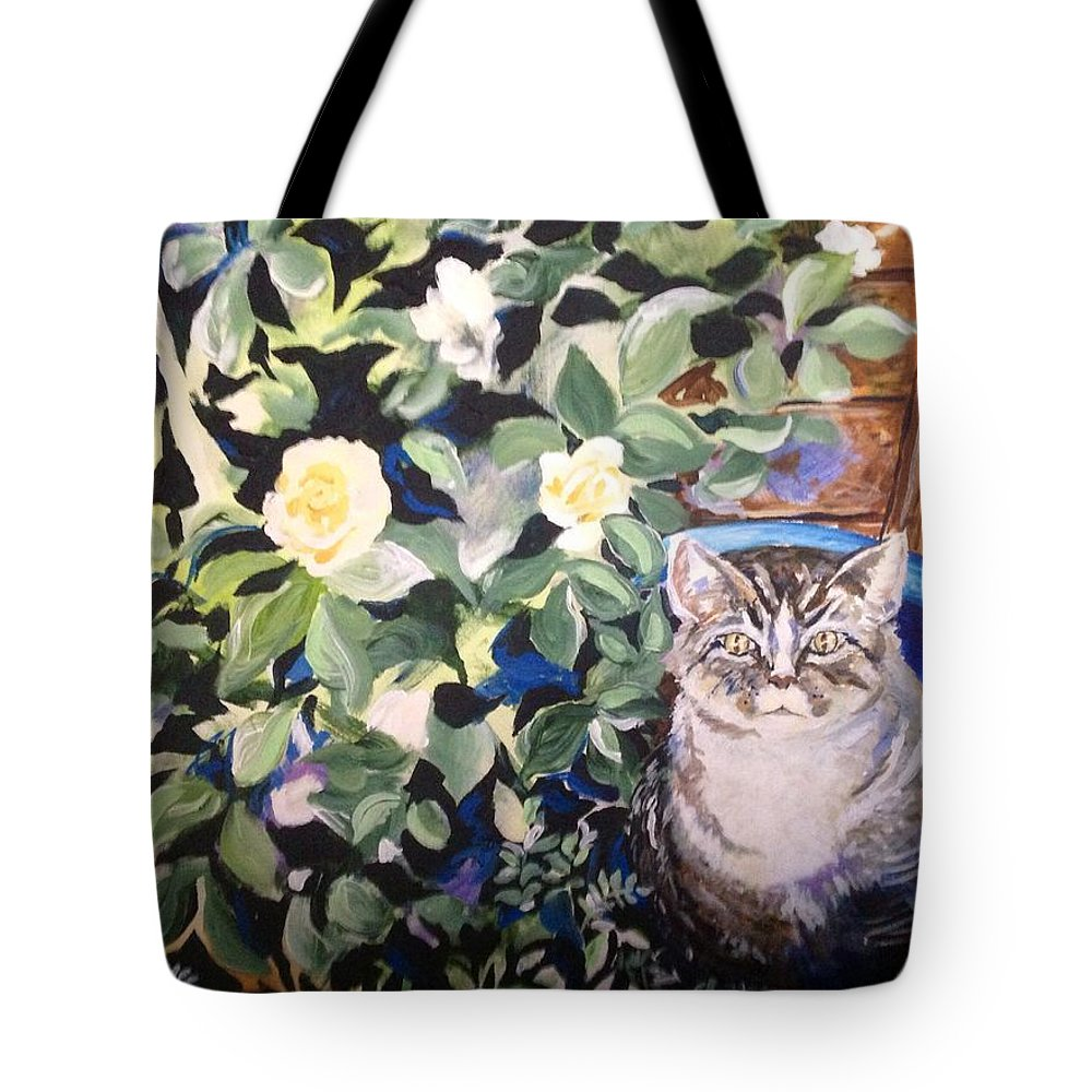 Cat In The Rose Bush Tote Bag featuring the painting Maybe They Won't See Me by Susan Jacobsen
