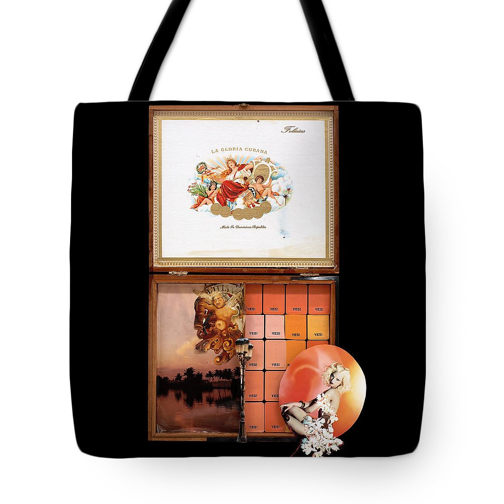 Cigar Box Tote Bag featuring the mixed media Maybe Yes by Jaime Becker