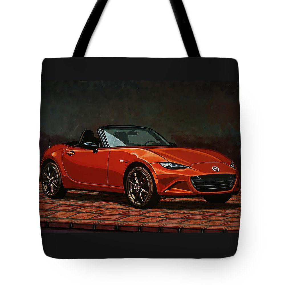 Mazda Mx-5 Miata Tote Bag featuring the painting Mazda Mx-5 Miata 2015 Painting by Paul Meijering