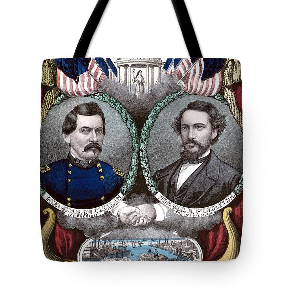 George Mcclellan Tote Bag featuring the painting Mcclellan And Pendleton Campaign Poster by War Is Hell Store