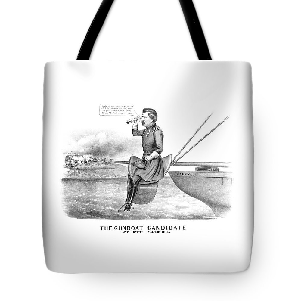 George Mcclellan Tote Bag featuring the drawing Mcclellan The Gunboat Candidate by War Is Hell Store