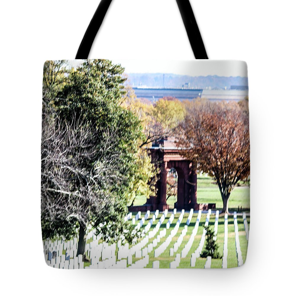 This Is A Photo Looking Down The Hill At Arlington Cemetery At The Backside Of Mcclellan's Gate Tote Bag featuring the photograph Mcclellans Gate by William Rogers