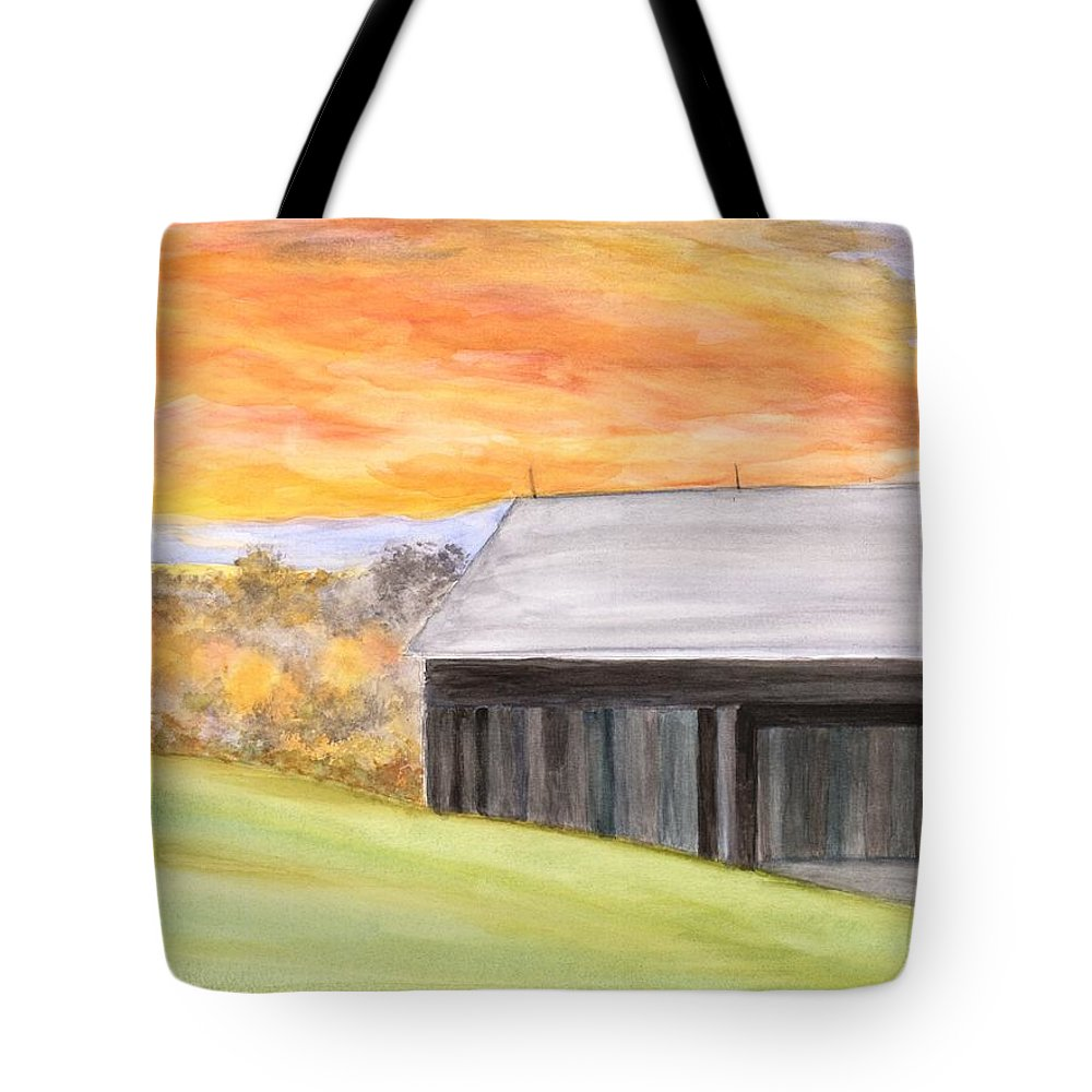 Farm Tote Bag featuring the painting Mccready Farm by David Bartsch