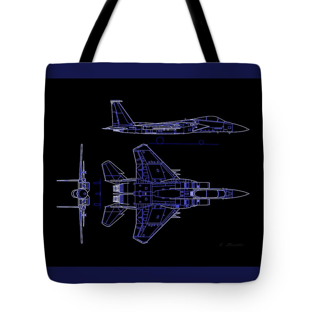 F-15 Eagle American Twin-engine Tote Bag featuring the photograph Mcdonnell Douglas F-15 Eagle Black Diagram Indigo Lines by L Brown