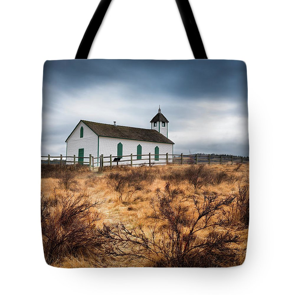Alberta Tote Bag featuring the photograph Mcdougal Historical Church by Yves Gagnon