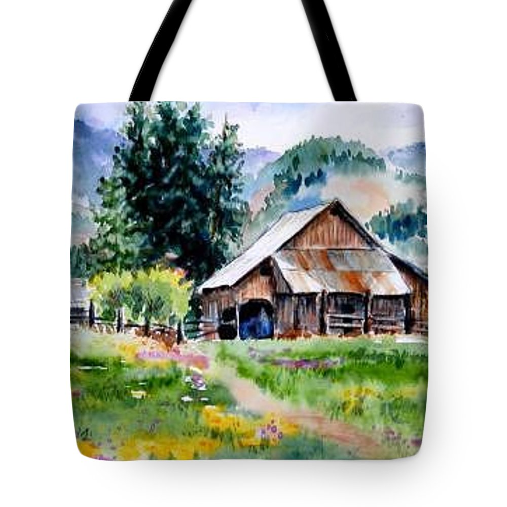 Barn Tote Bag featuring the painting McGhee Farm by Lynee Sapere