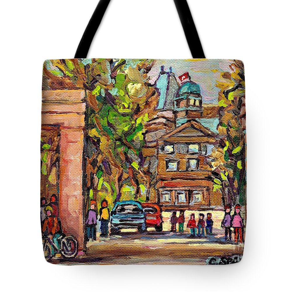 Mcgill University Tote Bag featuring the painting Mcgill Gates Entrance Of Mcgill University Montreal Quebec Original Oil Painting Carole Spandau by Carole Spandau