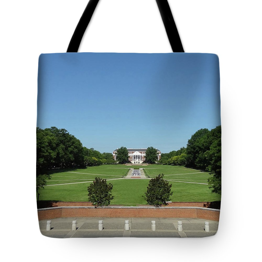 Mckeldin Library Tote Bag featuring the photograph Mckeldin Library Far by Christopher Kerby