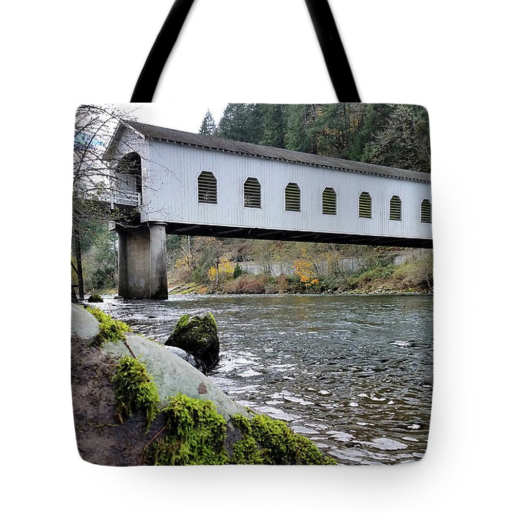 Oregon Tote Bag featuring the photograph Mckenzie River Covered Bridge by Lindy Pollard
