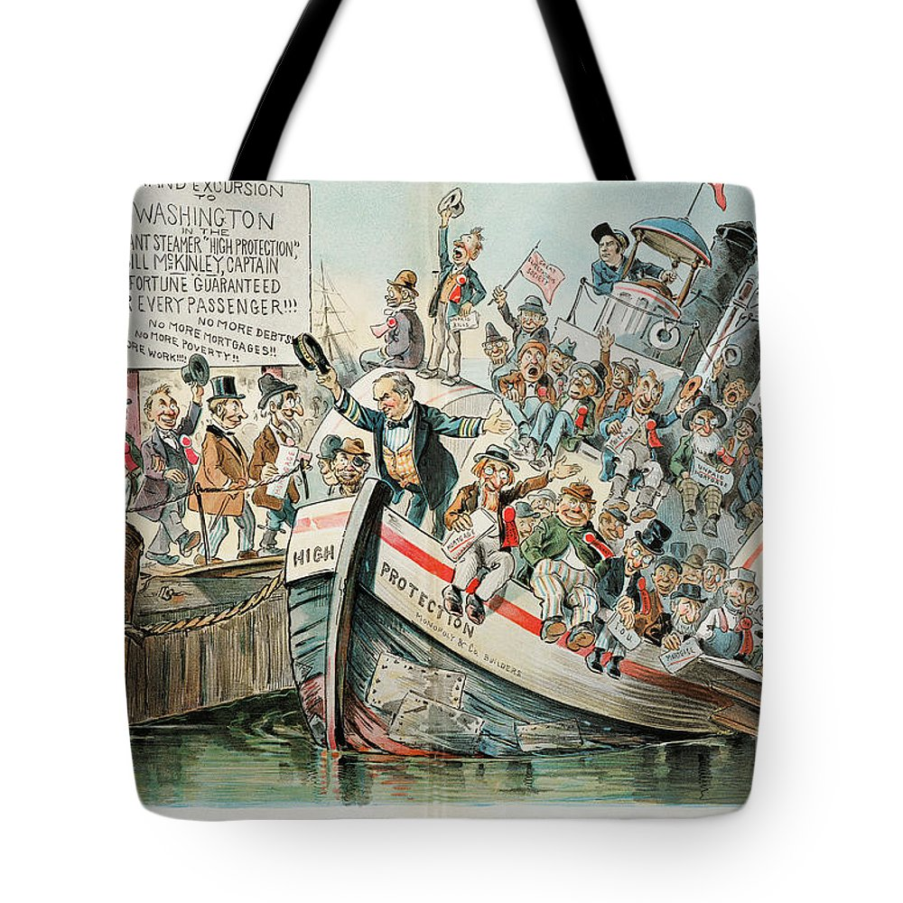 1896 Tote Bag featuring the photograph Mckinley Cartoon, 1896 by Granger