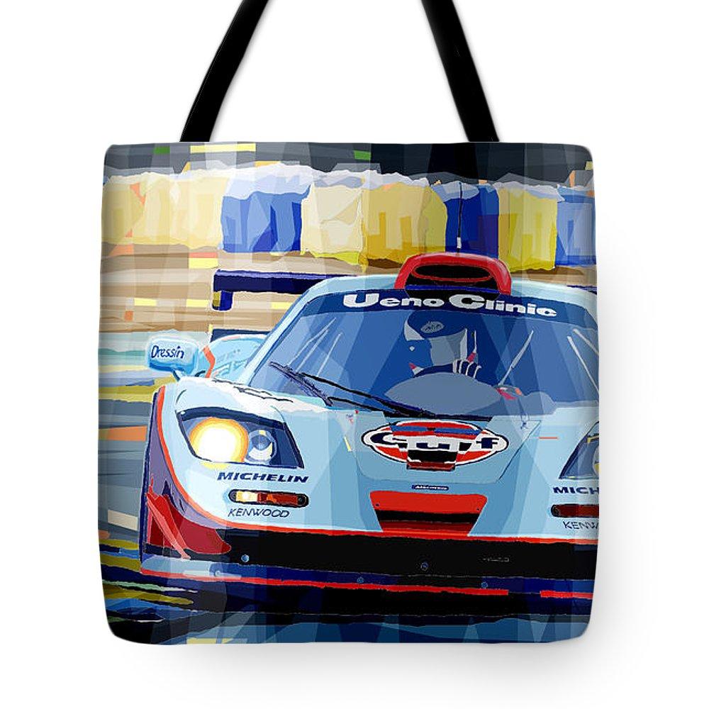 Automotive Tote Bag featuring the digital art Mclaren Bmw F1 Gtr Gulf Team Davidoff Le Mans 1997 by Yuriy Shevchuk