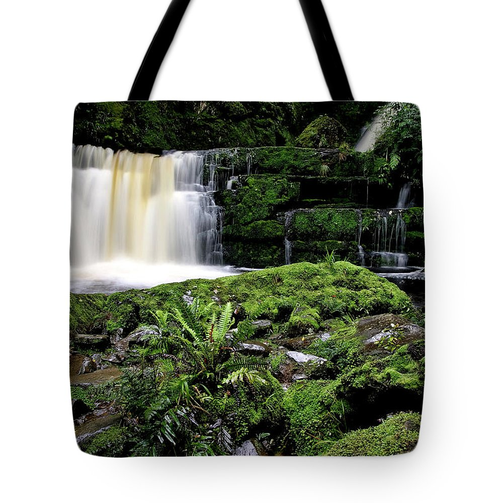 Water Tote Bag featuring the digital art Mclean Falls In Southland New Zealand by Mark Duffy