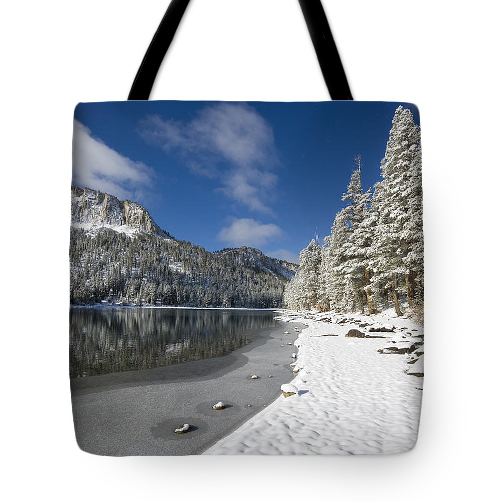 Snow Tote Bag featuring the photograph Mcleod Lake by Kelley King