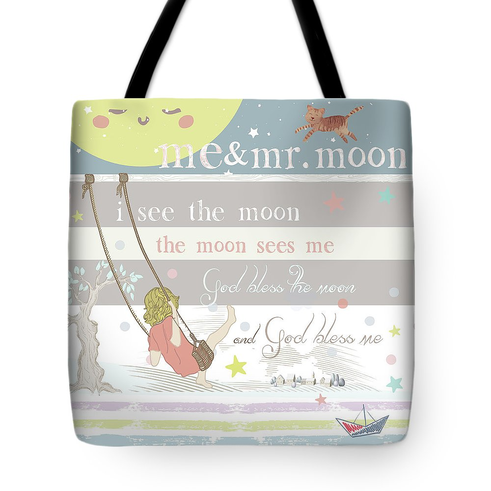 Tote Bag featuring the digital art Me And Mr. Moon by Claire Tingen