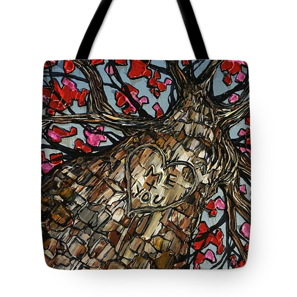 Tree Tote Bag featuring the painting Me And You Tree by Tracy Levesque