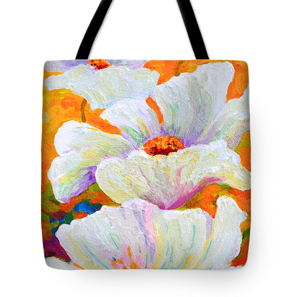 Poppies Tote Bag featuring the painting Meadow Angels - White Poppies by Marion Rose