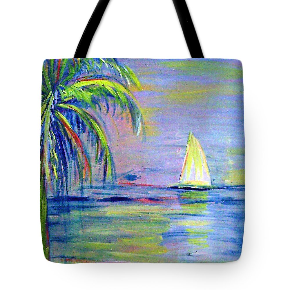 Seascape Tote Bag featuring the painting Meandering by Patricia Taylor