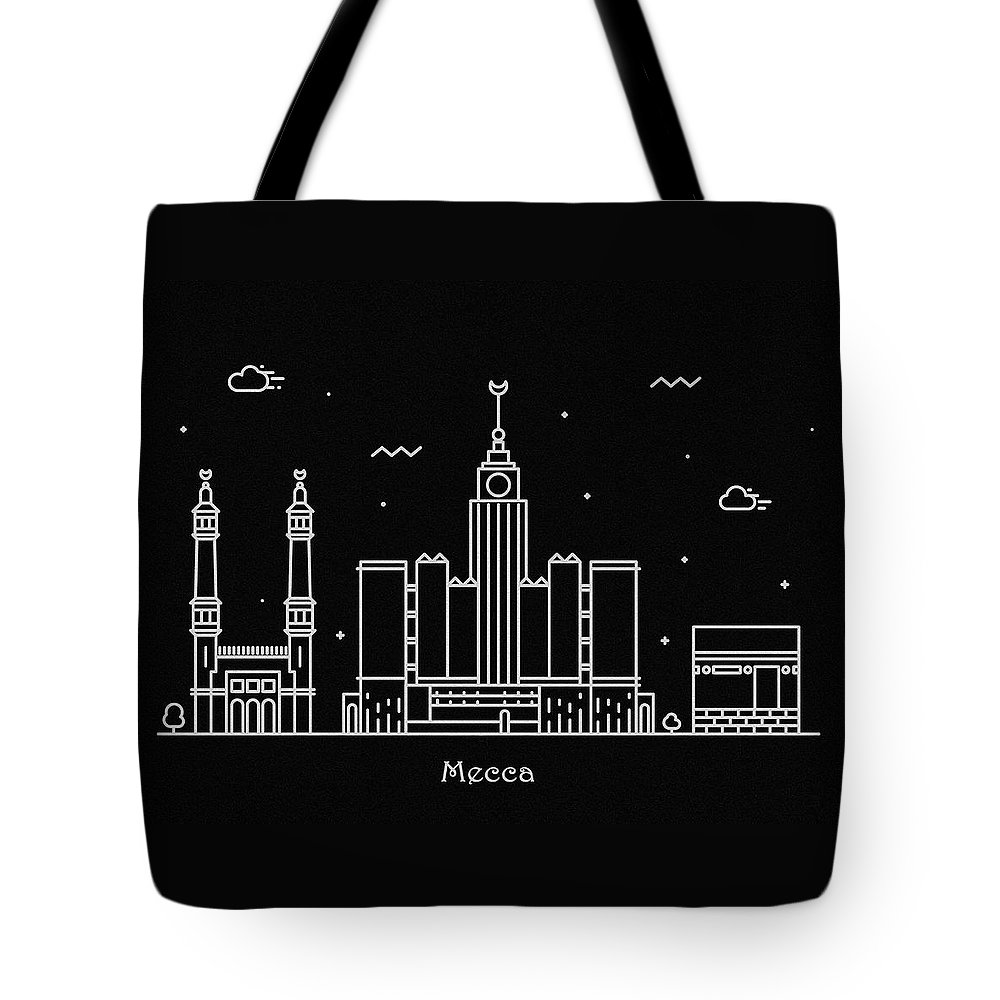 Makkah Tote Bag featuring the drawing Mecca Skyline Travel Poster by Inspirowl Design