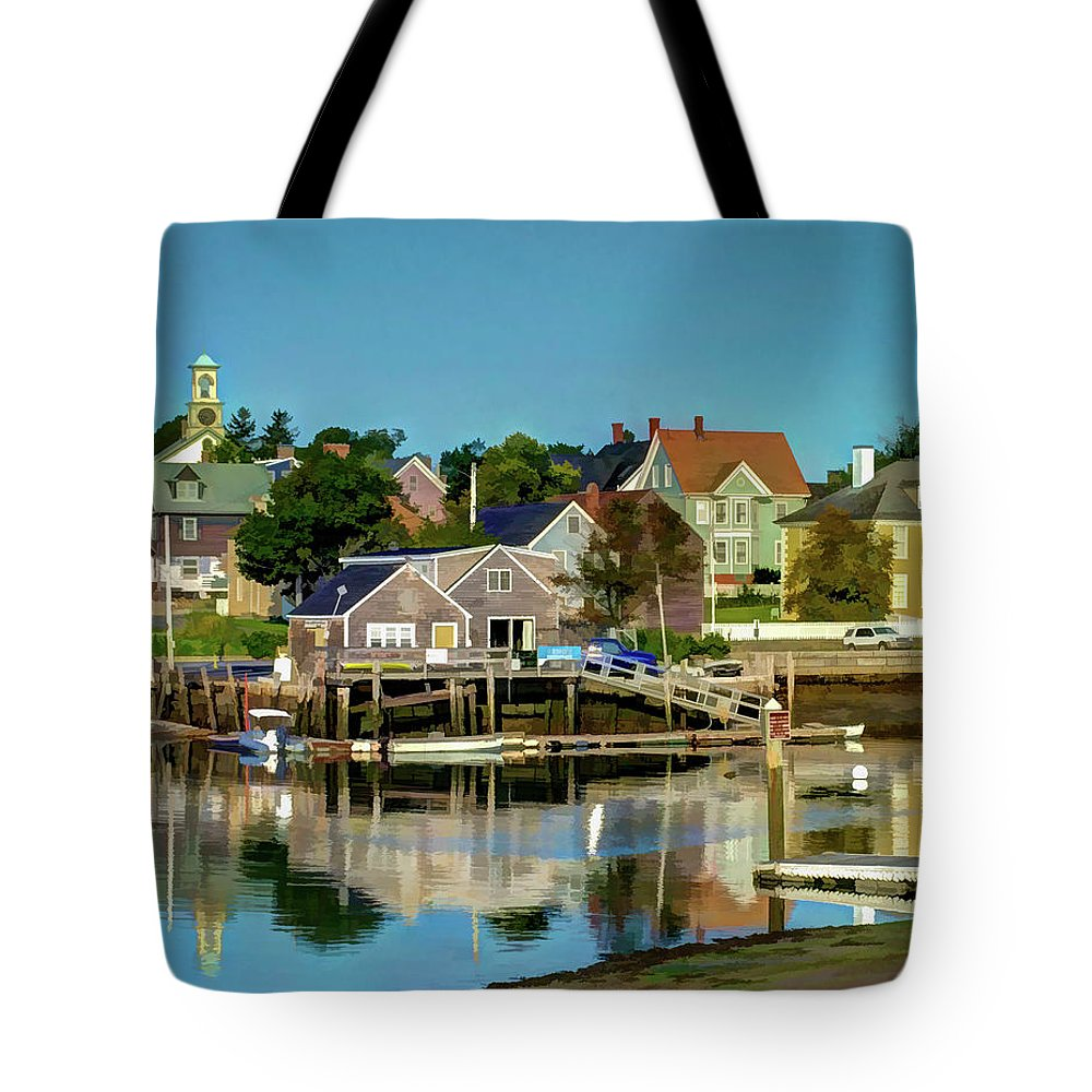 New England Tote Bag featuring the photograph Mechanic Street Portsmouth by Dave Thompsen