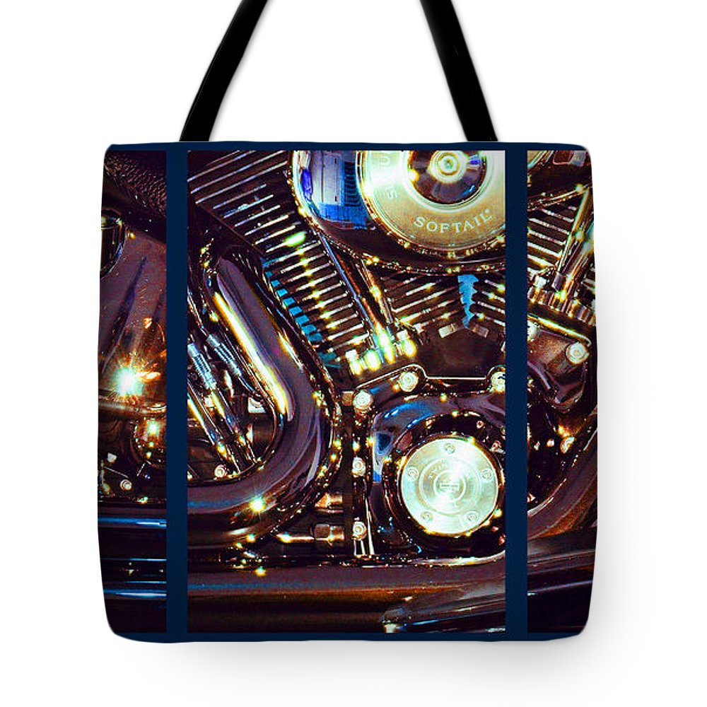 Harley Davidson Tote Bag featuring the photograph Mechanism by Steve Karol