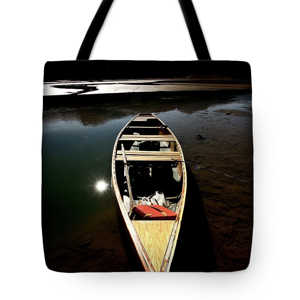 Medicine Lake Tote Bag featuring the digital art Medicine Lake In Jasper National Park by Mark Duffy