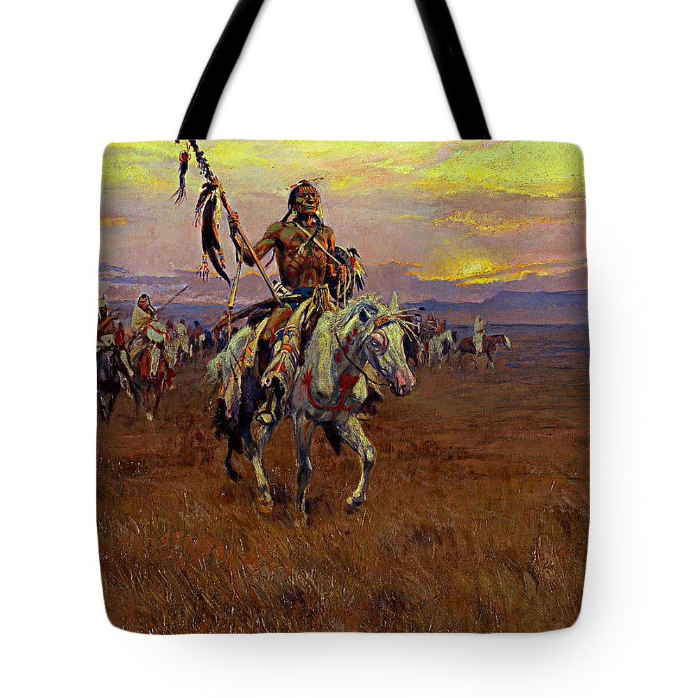 American Artist Tote Bag featuring the painting Medicine Man by Charles Marion Russell