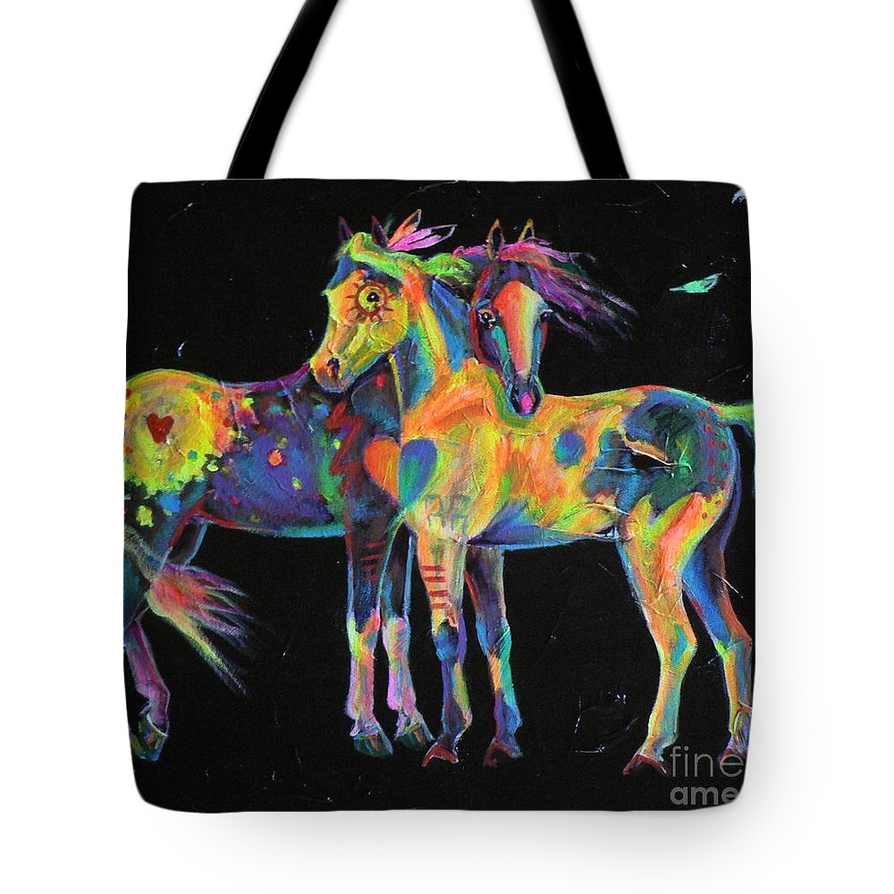 Appaloosa Paint Painted Pinto Ponies Rainbow Horse Equine Medicine Native American Tote Bag featuring the painting Medicine Ponies by Louise Green