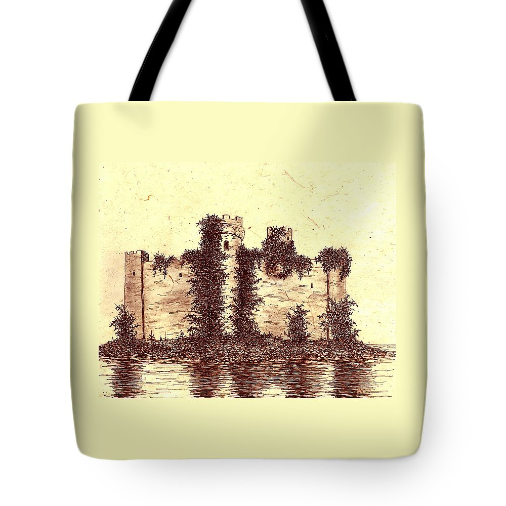 Castle Tote Bag featuring the drawing Medieval Castle by Michael Vigliotti