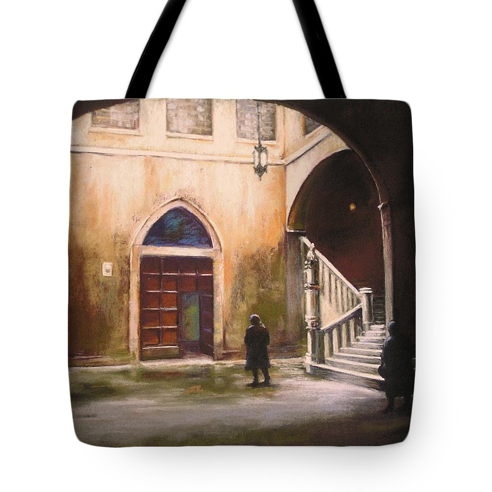 Italian Tote Bag featuring the painting Medieval Courtyard by Barbara Couse Wilson