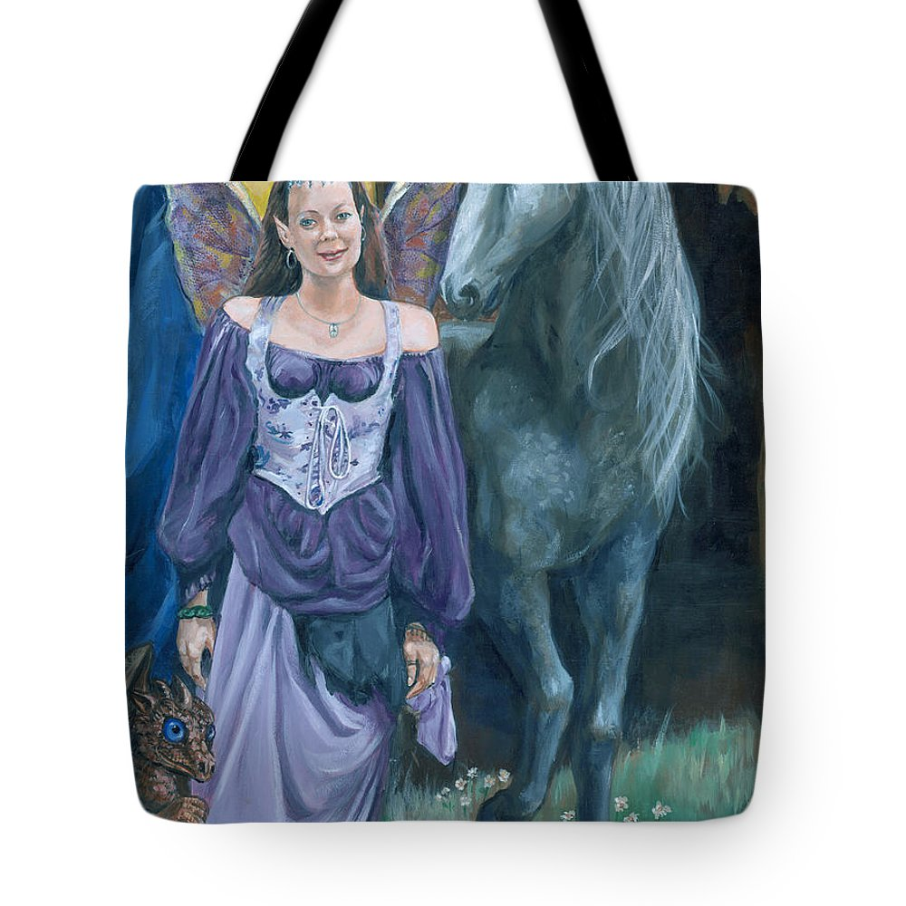 Fairy Faerie Unicorn Dragon Renaissance Festival Tote Bag featuring the painting Medieval Fantasy by Bryan Bustard