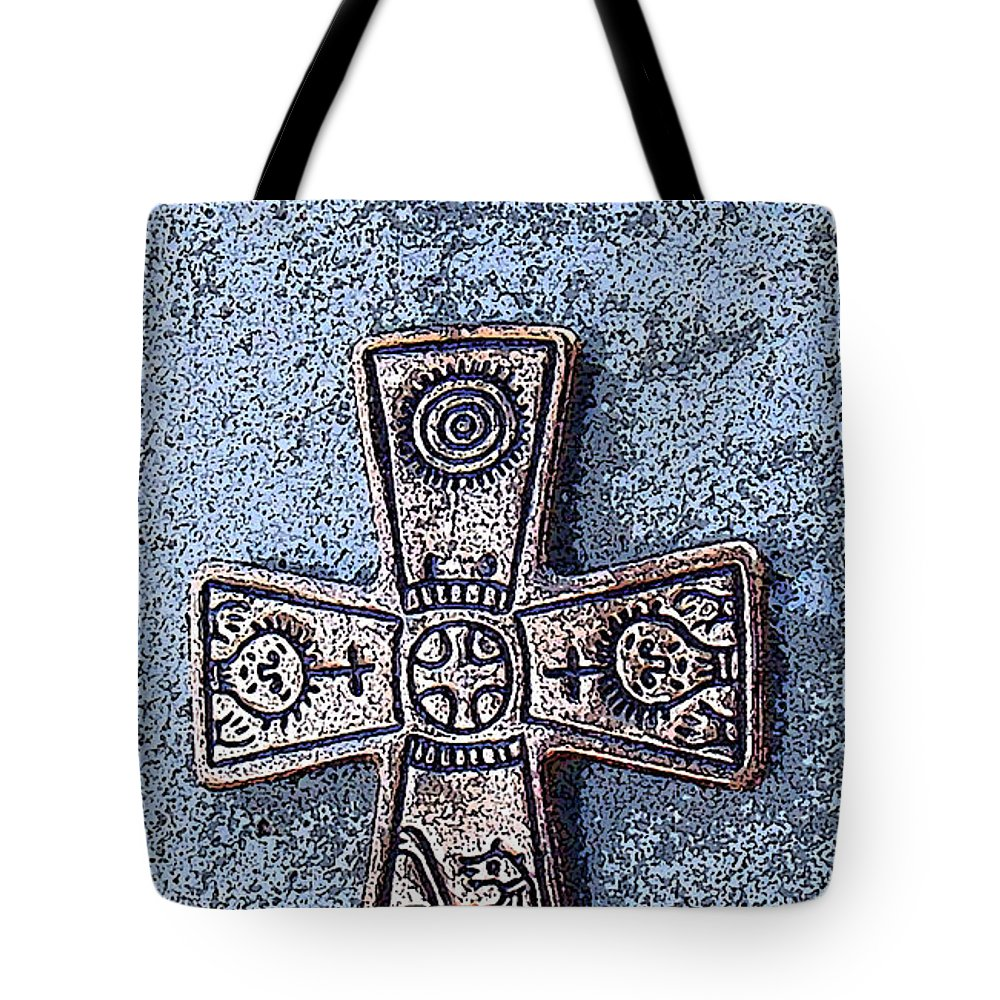 Cross Tote Bag featuring the photograph Medieval Nordic Cross by Merja Waters