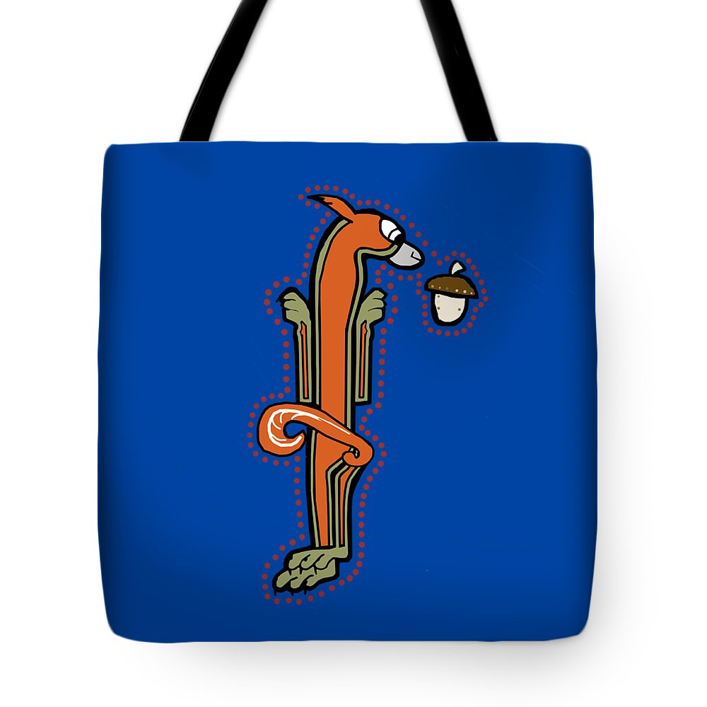 Squirrel Tote Bag featuring the digital art Medieval Squirrel Letter I by Donna Huntriss