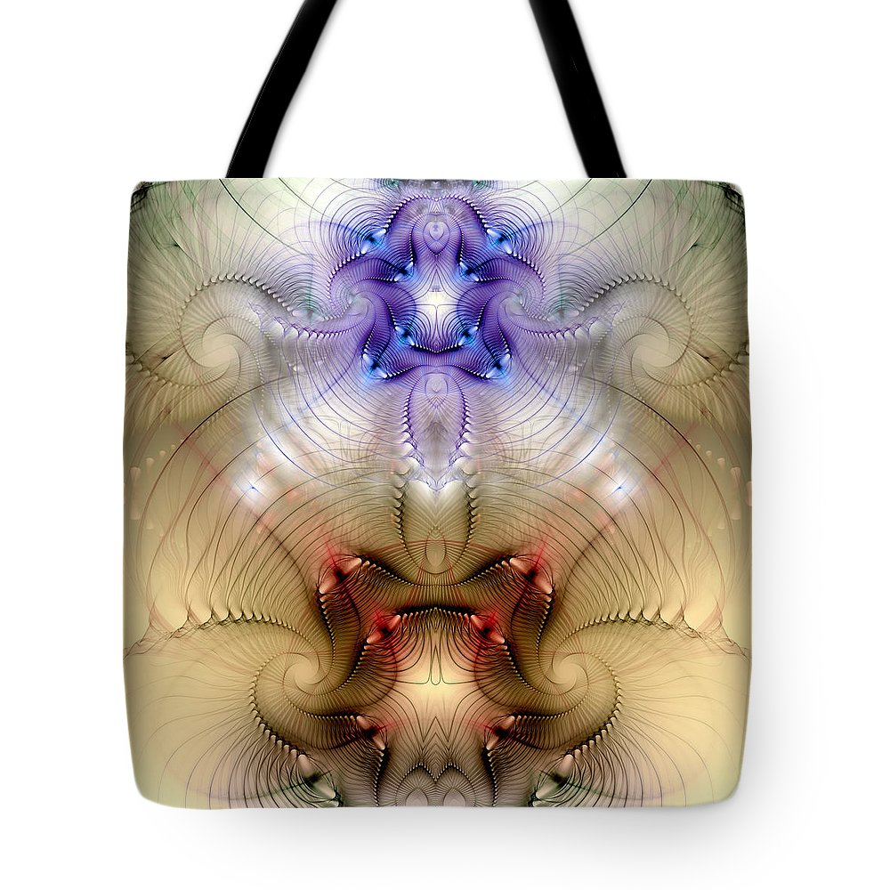 Abstract Tote Bag featuring the digital art Meditative Symmetry 3 by Casey Kotas