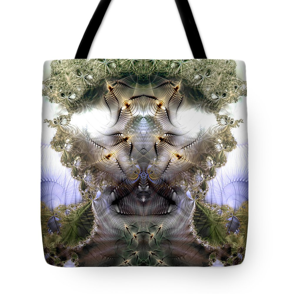 Abstract Tote Bag featuring the digital art Meditative Symmetry 5 by Casey Kotas