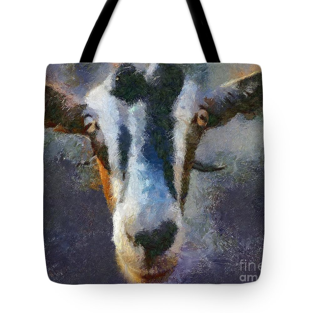 Expression Tote Bag featuring the painting Mediterranean Goat by Dragica Micki Fortuna
