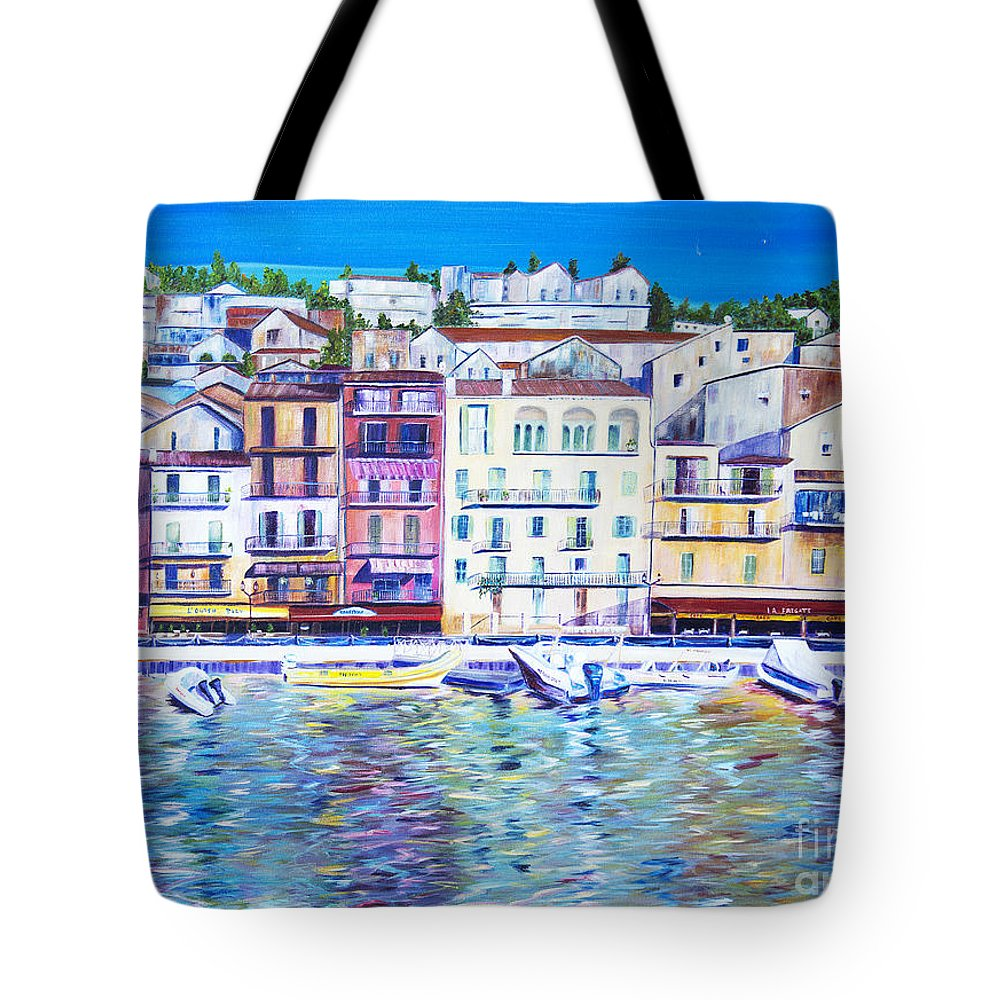 France Tote Bag featuring the painting Mediterranean Morning by JoAnn DePolo