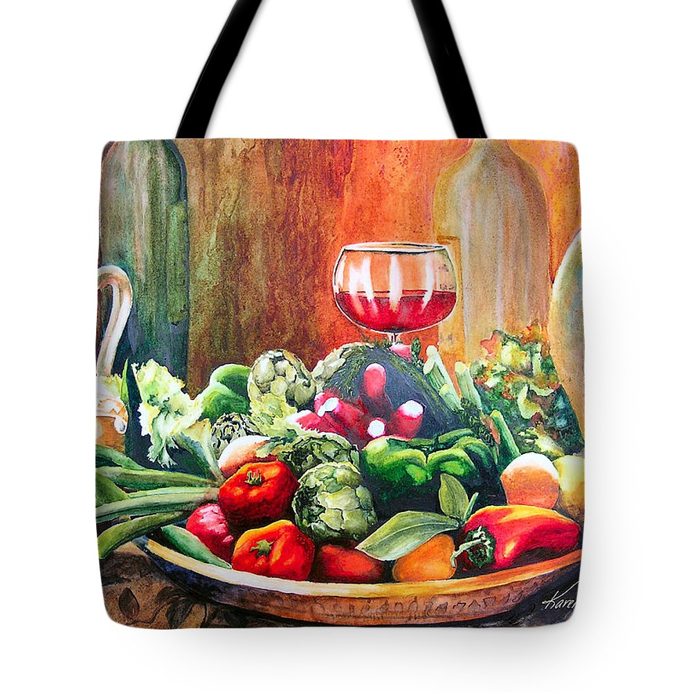 Still Life Tote Bag featuring the painting Mediterranean Table by Karen Stark