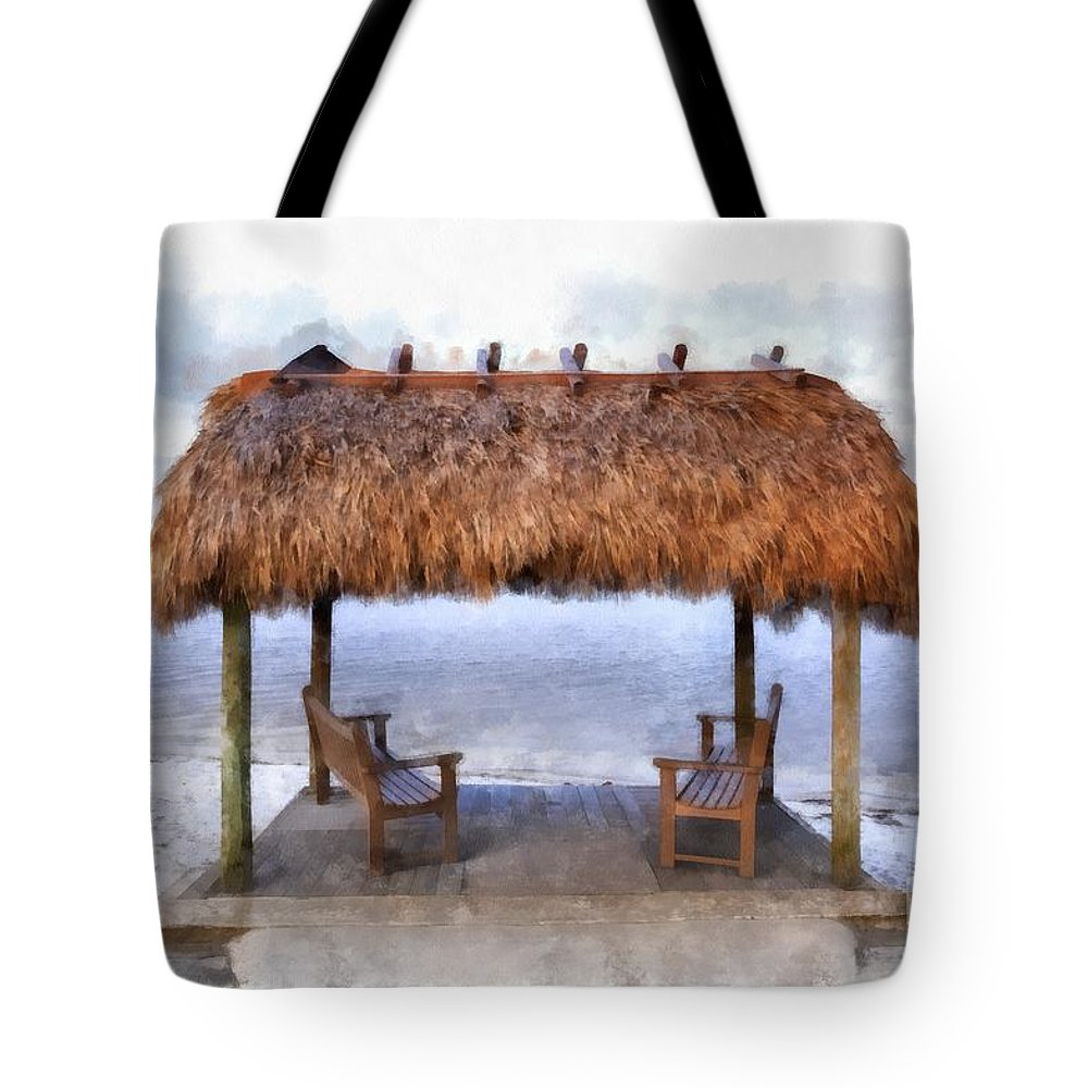 Chikee; Chickee; Hut; Dwelling; Platform; House; Stilt; Thatched; Traditional; Indian; American; Roof; Seat; Bench; Beach; Ocean; Front; Fort Myers; Post; Deck; Spot; Water; Open; Sunset Tote Bag featuring the painting Meet Me Under The Chickee Hut by Edward Fielding