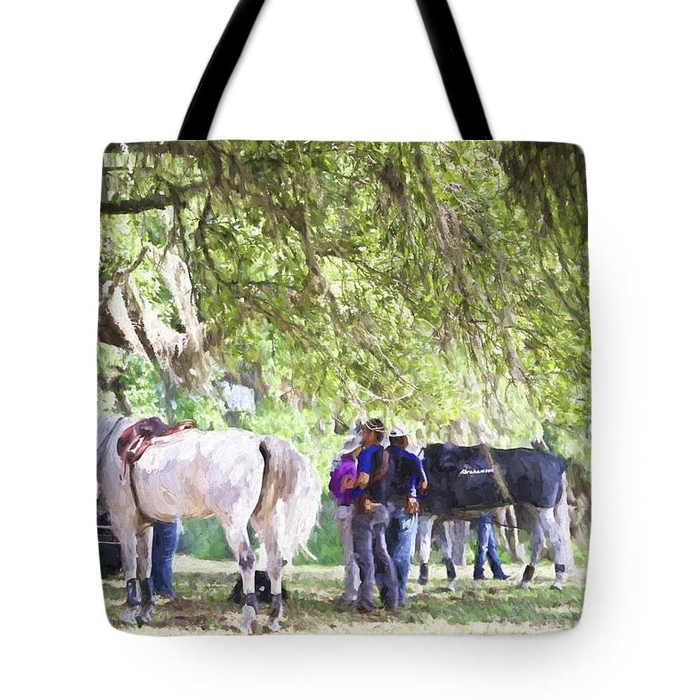 Horses Tote Bag featuring the photograph Meet Me Under The Trees by Alice Gipson