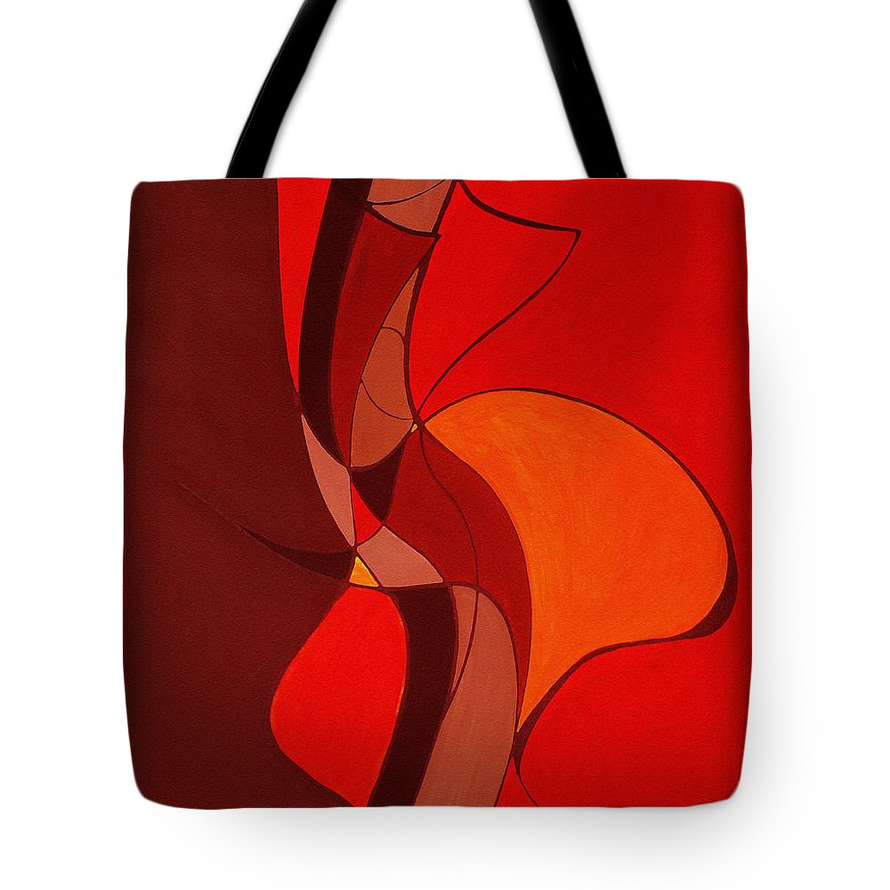 Abstract Tote Bag featuring the painting Meeting In The Middle 2009 by Ruth Palmer