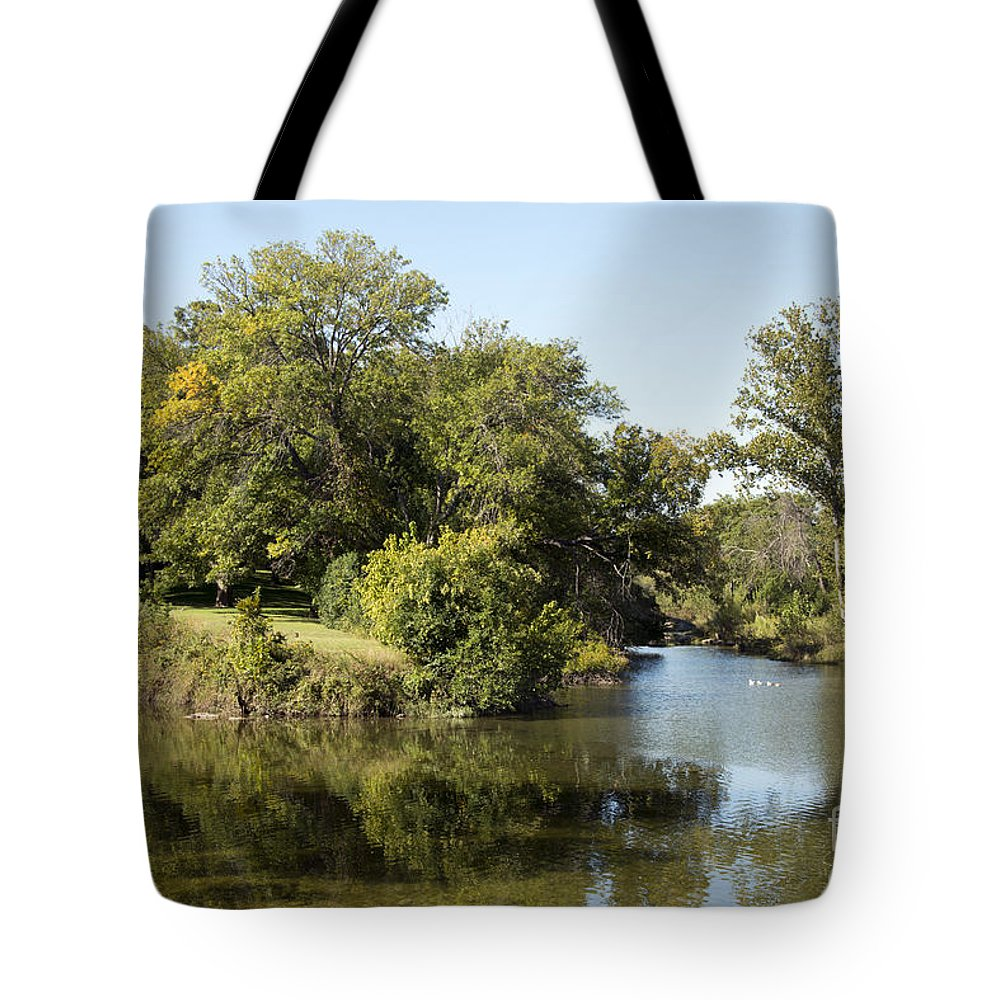 Georgetown Texas Williamson County Tree Trees San Gabriel River Rivers Water Landscape Landscapes Reflection Reflections Waterscape Waterscapes Tote Bag featuring the photograph Meeting Of Two Rivers by Bob Phillips