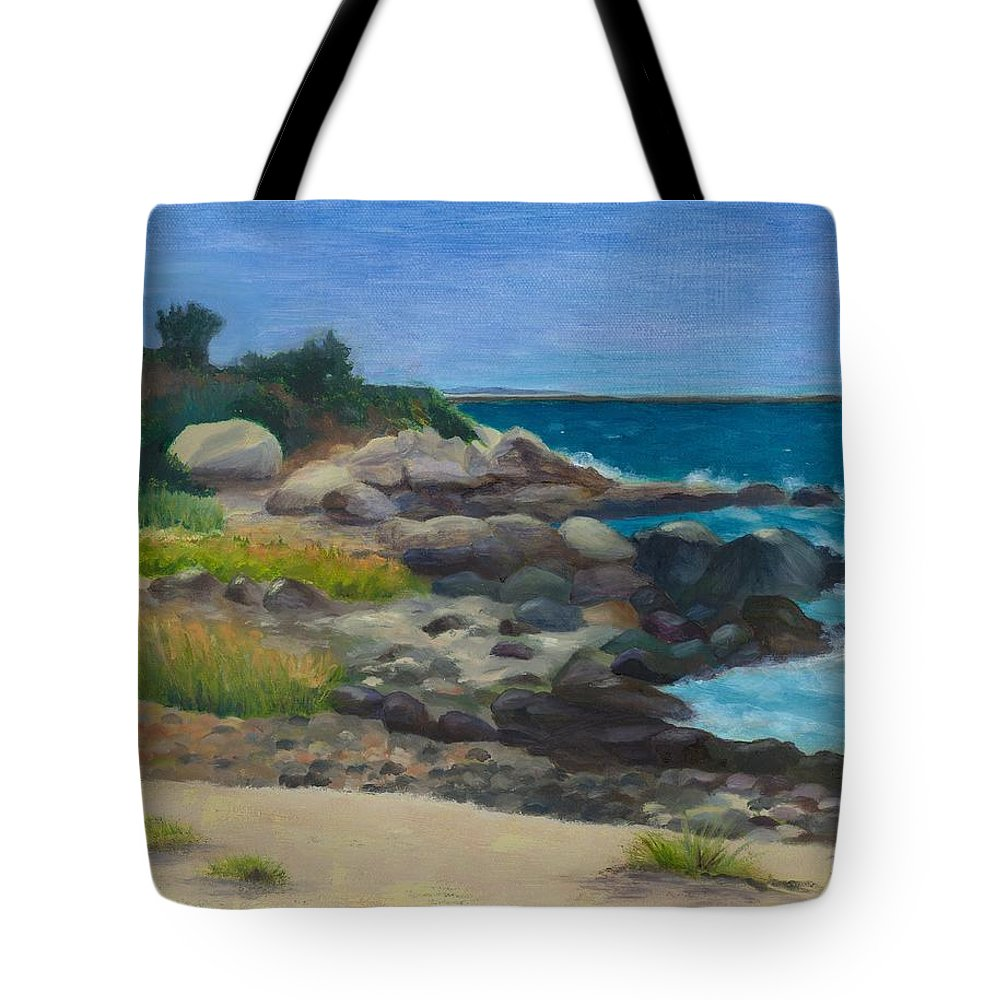 Landscape Tote Bag featuring the painting Meigs Point by Paula Emery