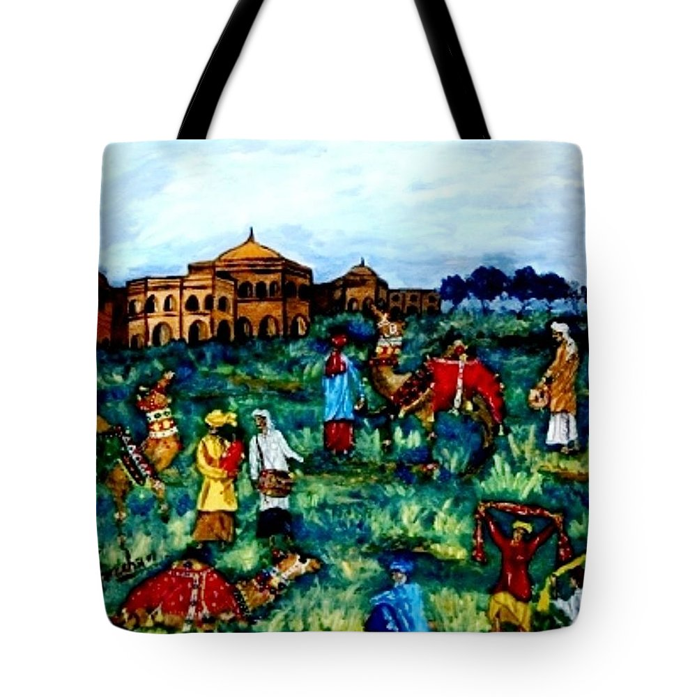 Oil Painting Tote Bag featuring the painting Mela - Carnival by Fareeha Khawaja