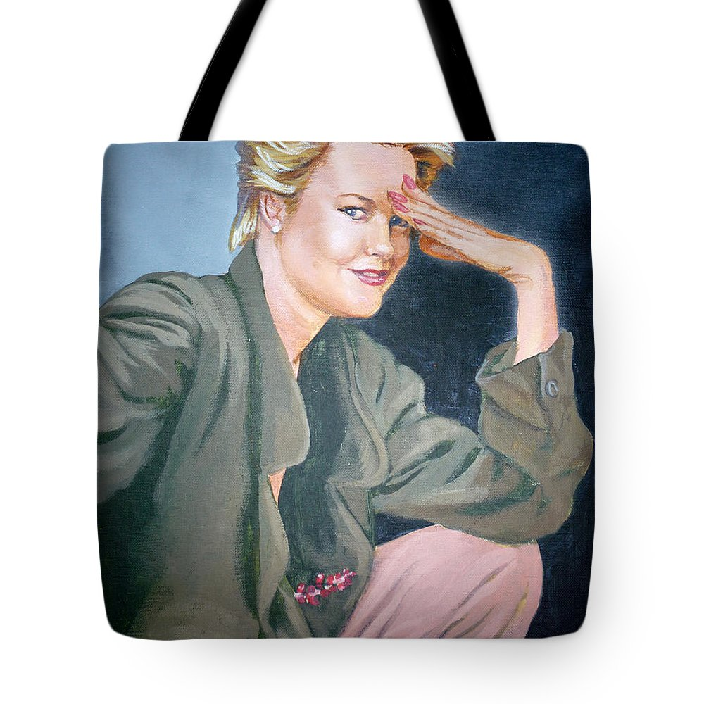 Melanie Griffith Tote Bag featuring the painting Melanie Griffith by Bryan Bustard