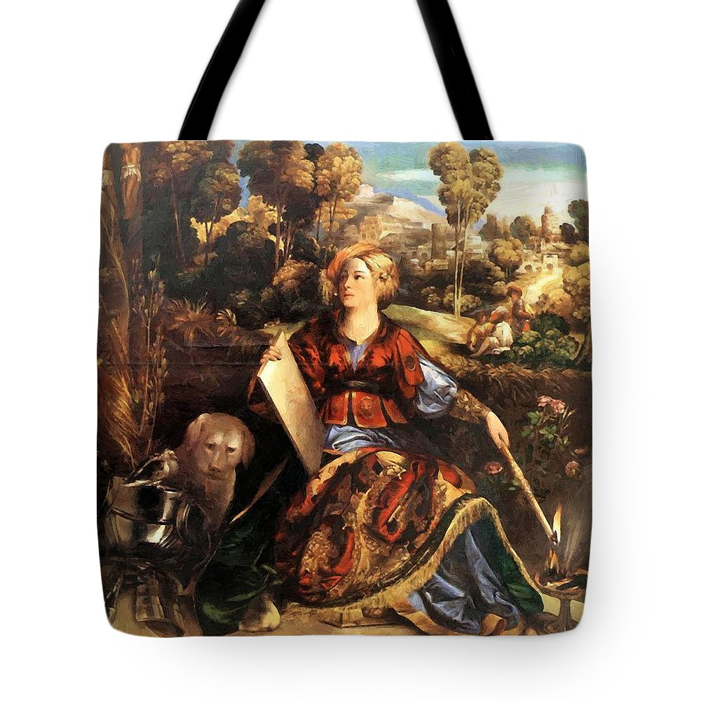 Melissa Tote Bag featuring the painting Melissa Circe 1507 by Dossi Dosso